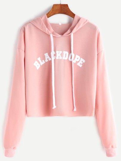Kurzes Sweatshirt mit Kapuze Buchstaben Druck Rosa
