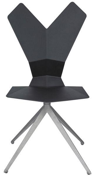 Y Chair (drehbar) - von Tom Dixon - Tom Dixon Ausführung: Schale schwarzes oder weißes glasfaserverstärkter Nylon, Aluminium-Untergestell, drehbar, Maße 50 x 52,6 cm, Höhe 93,9 cm
