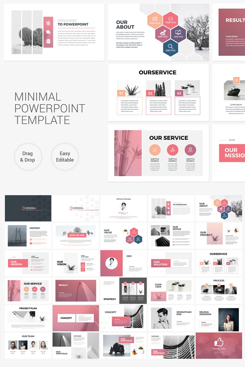 Clean Minimal Presentation PowerPoint Template #75798