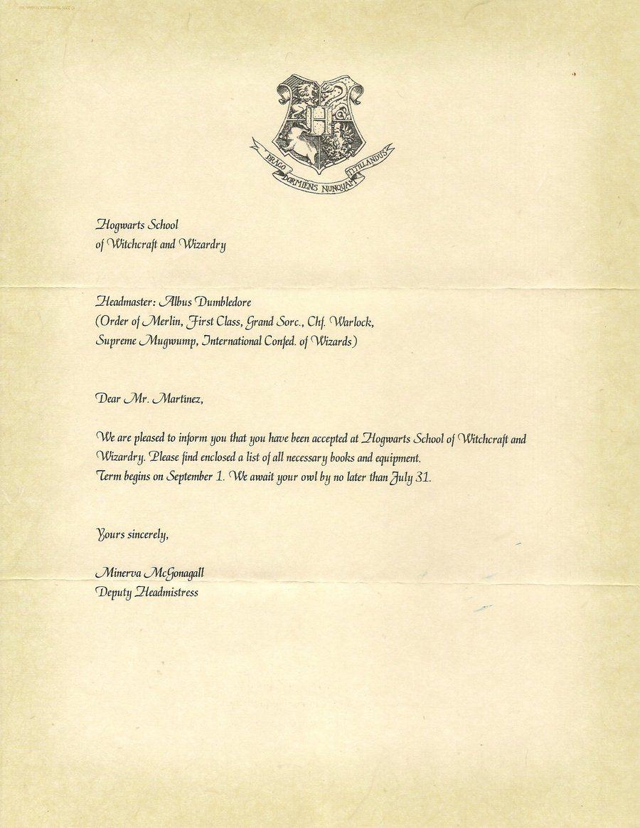 Hogwarts Acceptance Letter P1 by Javi3108 on DeviantArt