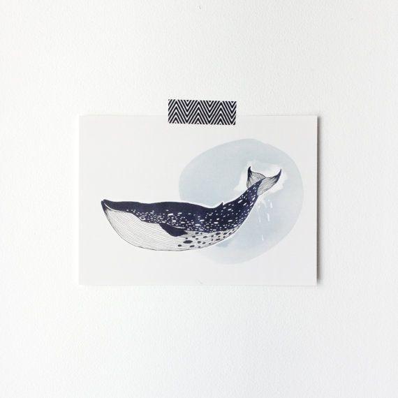 Postal Ballena Azul  Esta bonita postal es perfecta para enviar o enmarcar.  Papel de calidad.    Tamaño: 148 x 105 mm