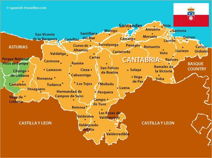 Map Of Cantabria Mapa De Cantabria Paisajes De España Picos De Europa