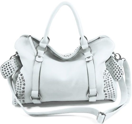 Mylux Connection Faux Leather Hobo Purse White