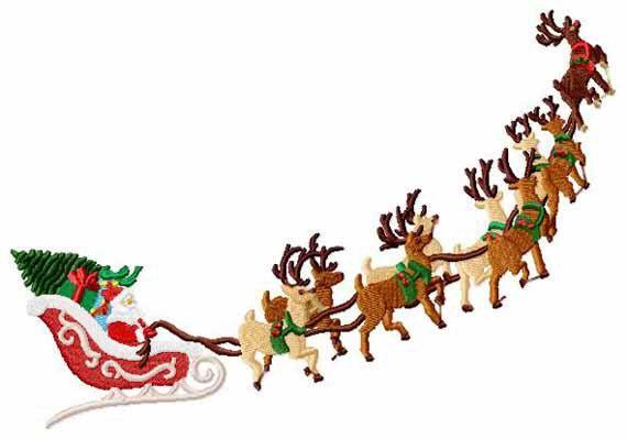 12 1 x Christmas  Stencil Template Drawing Santa Sledge reindeer pattern