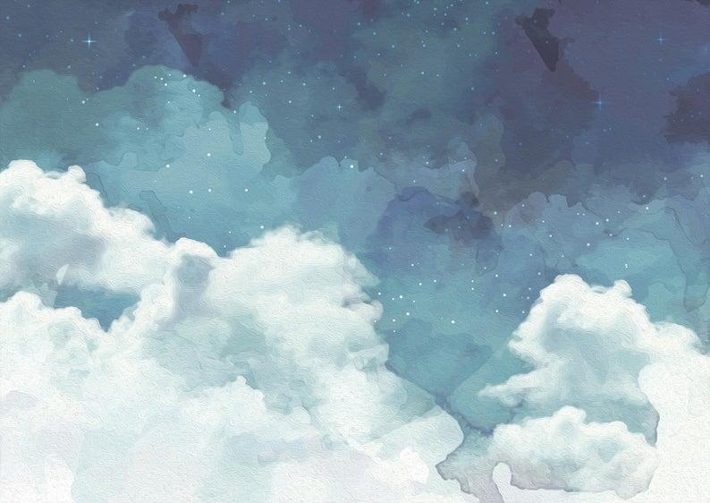 Cloudy Night Sky Wallpaper Etsy in 2020 Night sky