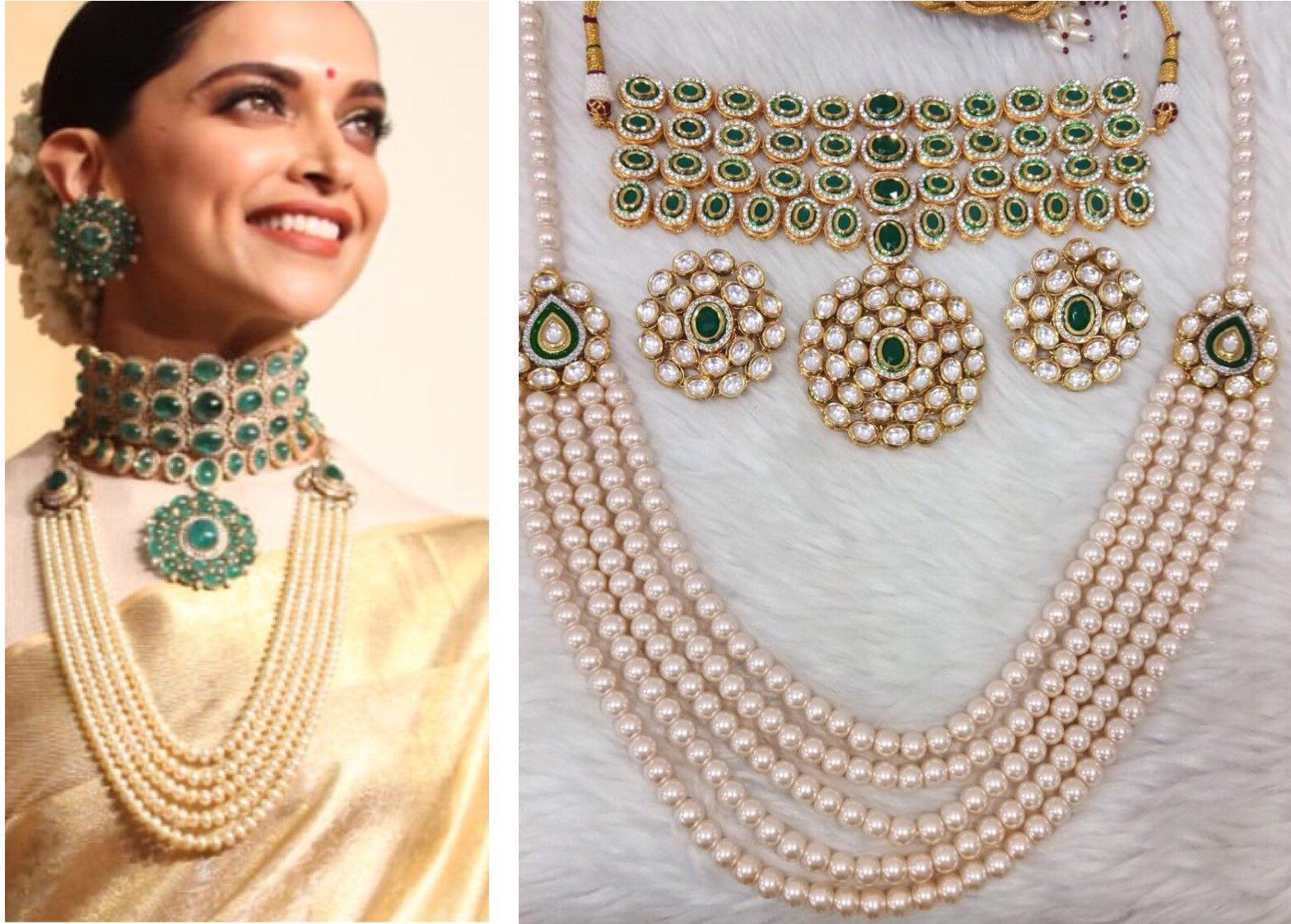 Deepika Padukone Wedding Reception inspired Jewellery Set ...