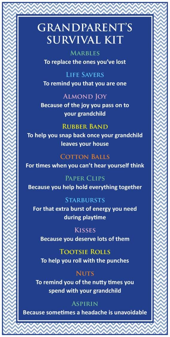 Survival Kit for Grandparents / Mother's Day / Father's Day / Grandparent's Day / Grandparent Birthday Gift