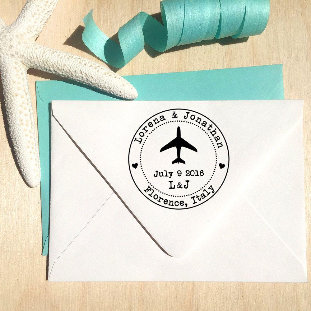 Flugzeug-Stempel, Ziel Hochzeit Stempel, Save the Date-Stempel, Stempel Hochzeitseinladung