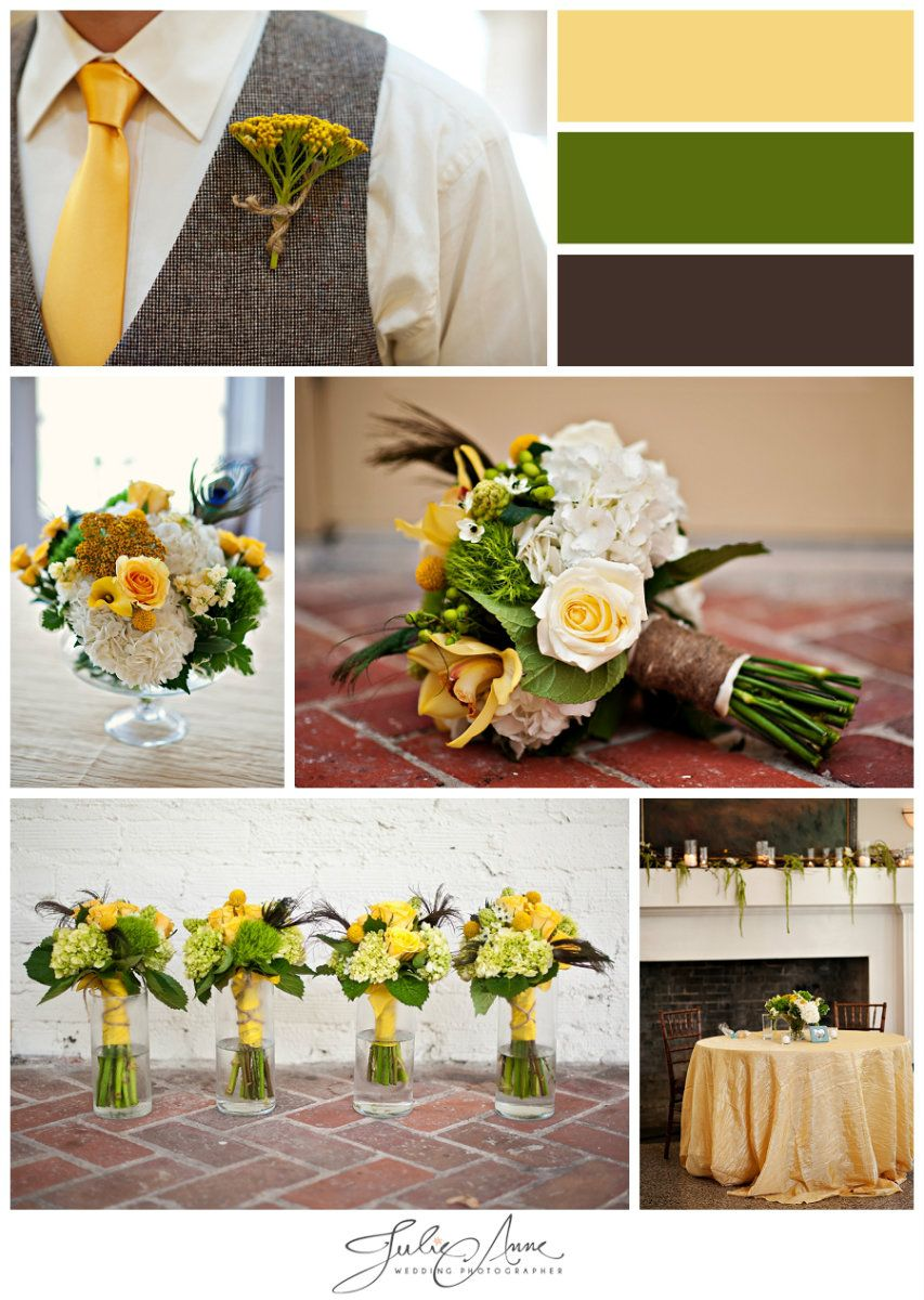Fall Wedding Colors - golden  tie and brown vest for groom.  Hydrangea, roses, calla lilies in the bouquets.