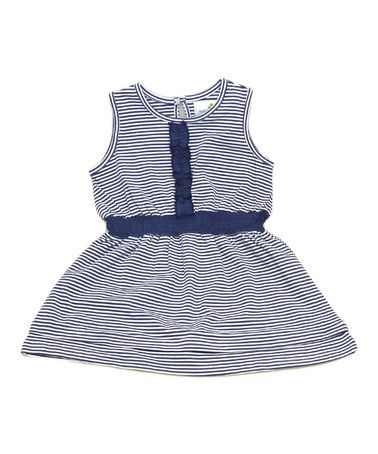 Navy Stripe Organic Ruffle Dress - Infant, Toddler & Girls #zulily #zulilyfinds