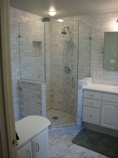 Fully Frameless Neo Angle Shower Glass To Glass Pivot