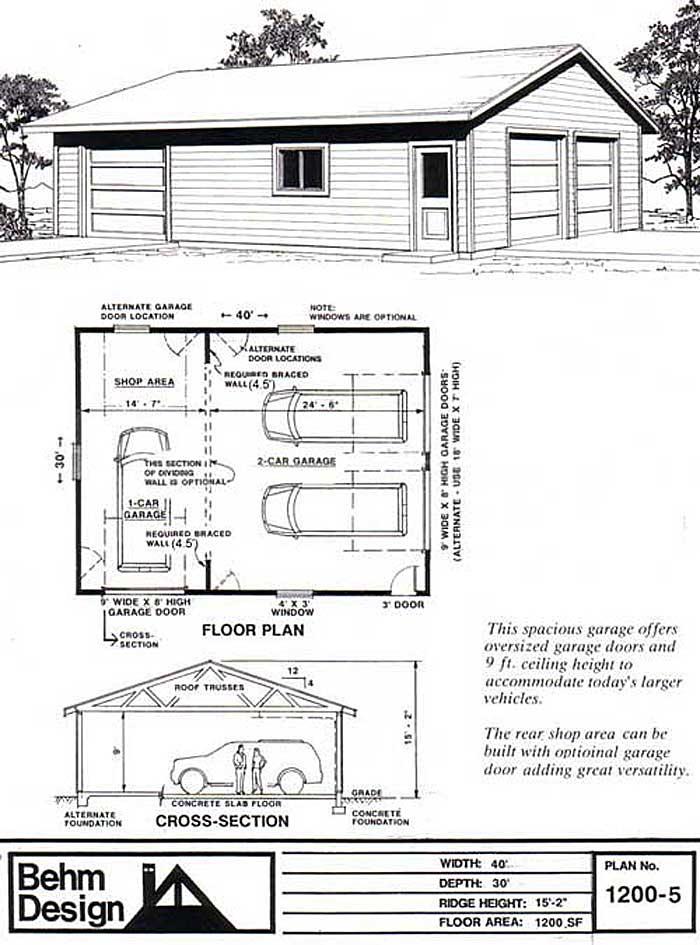 2 Car Shop Garage Plan Mit Einer Geschichte 1200 5 Von Behm Behm Car Einer Garage Geschichte Mit Plan Shop Garage Floor Plans Garage Plan Garage Plans