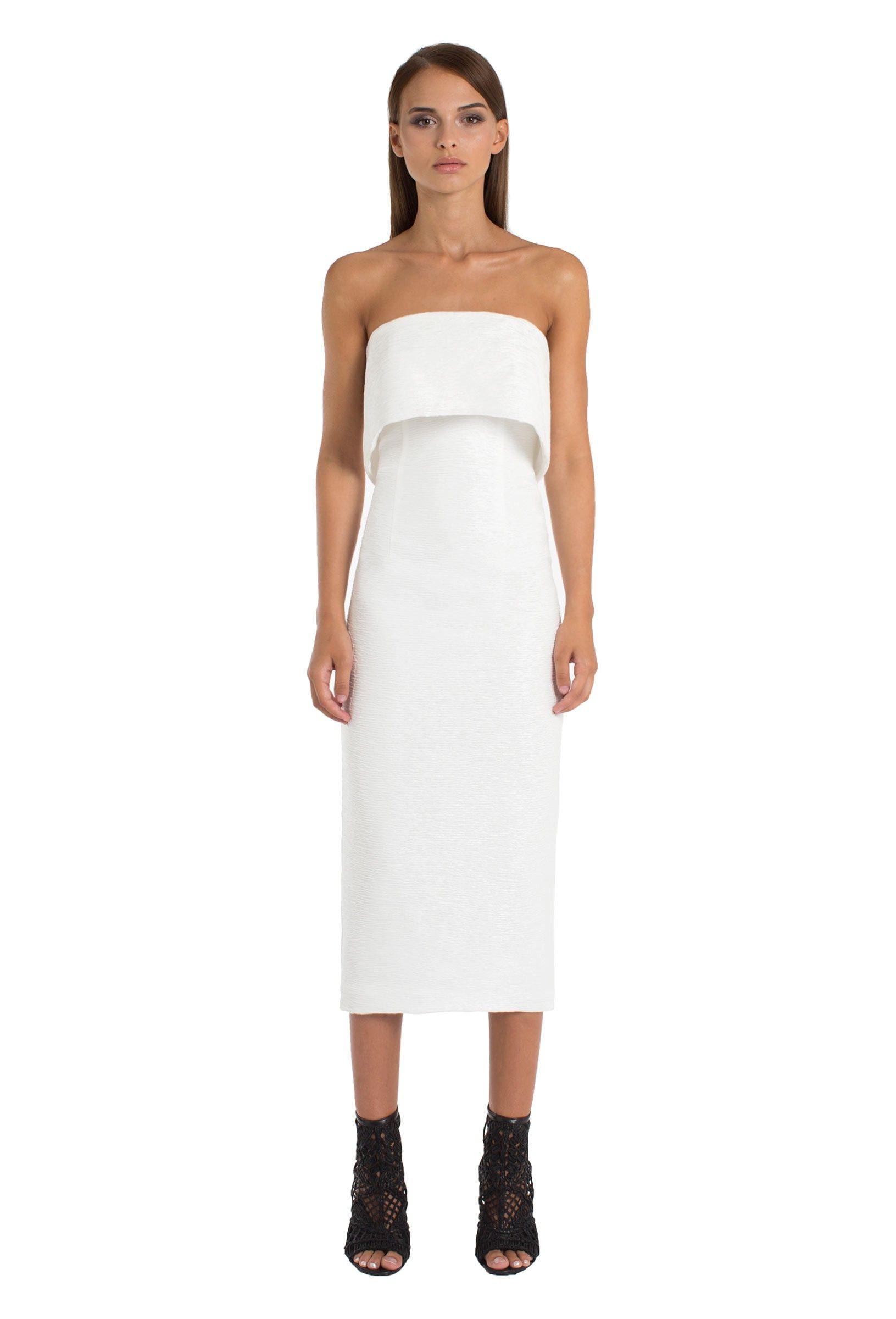 Ripple Strapless Midi Dress Cream Midi Dress Dresses Strapless Midi Dress [ 2400 x 1631 Pixel ]