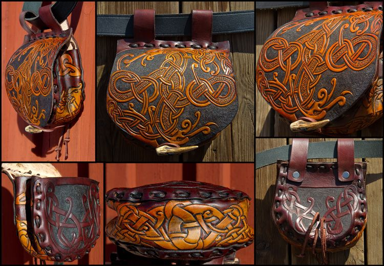 """""""Triskele Wolves"""" - Leather tobacco pouch Tobacco pouch in leather and copper hand embossed buckle.Designs are burned using pyrographer tool and painted using copper metallic powder color. © ..."""