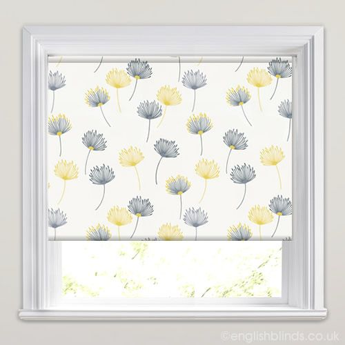 Dandelion Patterned Roller Blinds In White, Grey, Yellow U0026 Blue