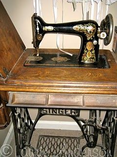 Singer Red Eye Treadle Sewing Machine.  My grandmother had a sewing machine that looked like this one!