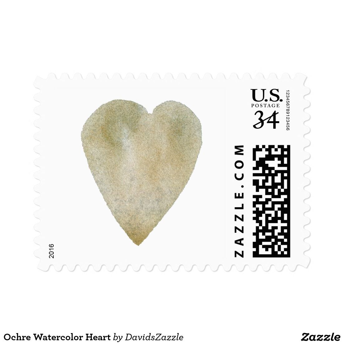 Ochre Watercolor Heart Postage  Watercolors Supplies And Friends