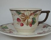 Set of 2 matching VILLEROY & BOCH Wide Cup and Saucers in the PORTOBELLO Pattern Made In Germany No 1748