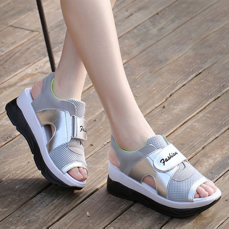 8f005f2f72f0 Lady S Open Toe Trainers Athletic Shoes Summer Mesh Sneakers Platform  Sandals
