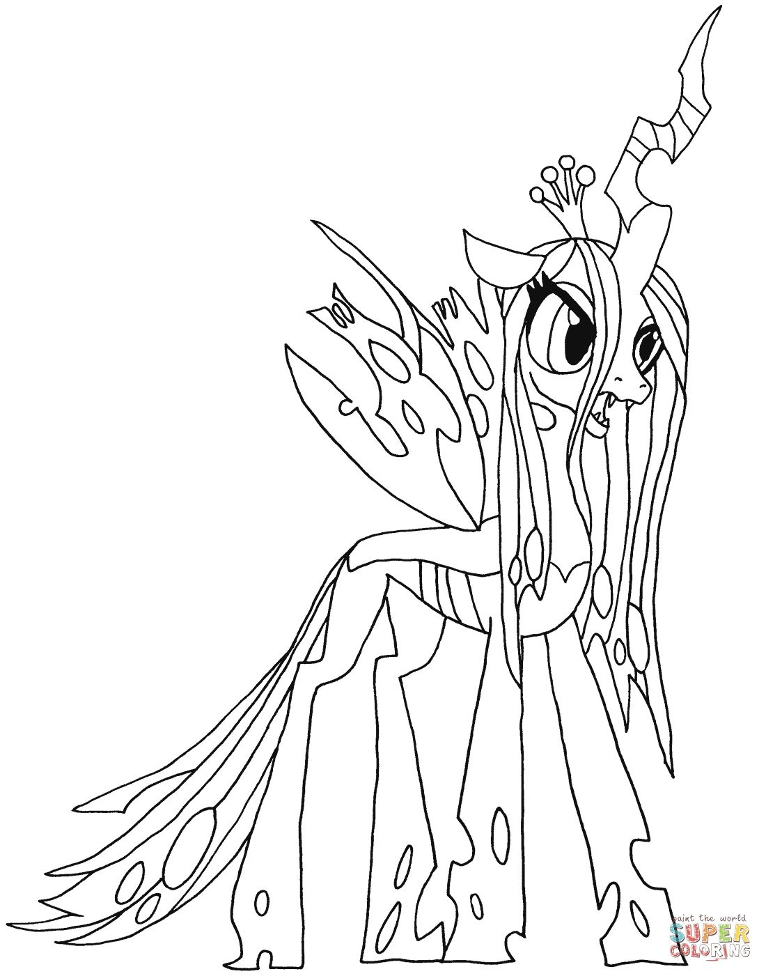 Queen Chrysalis Coloring Pages Gallery In 2020 My Little Pony Coloring My Little Pony Drawing Moon Coloring Pages