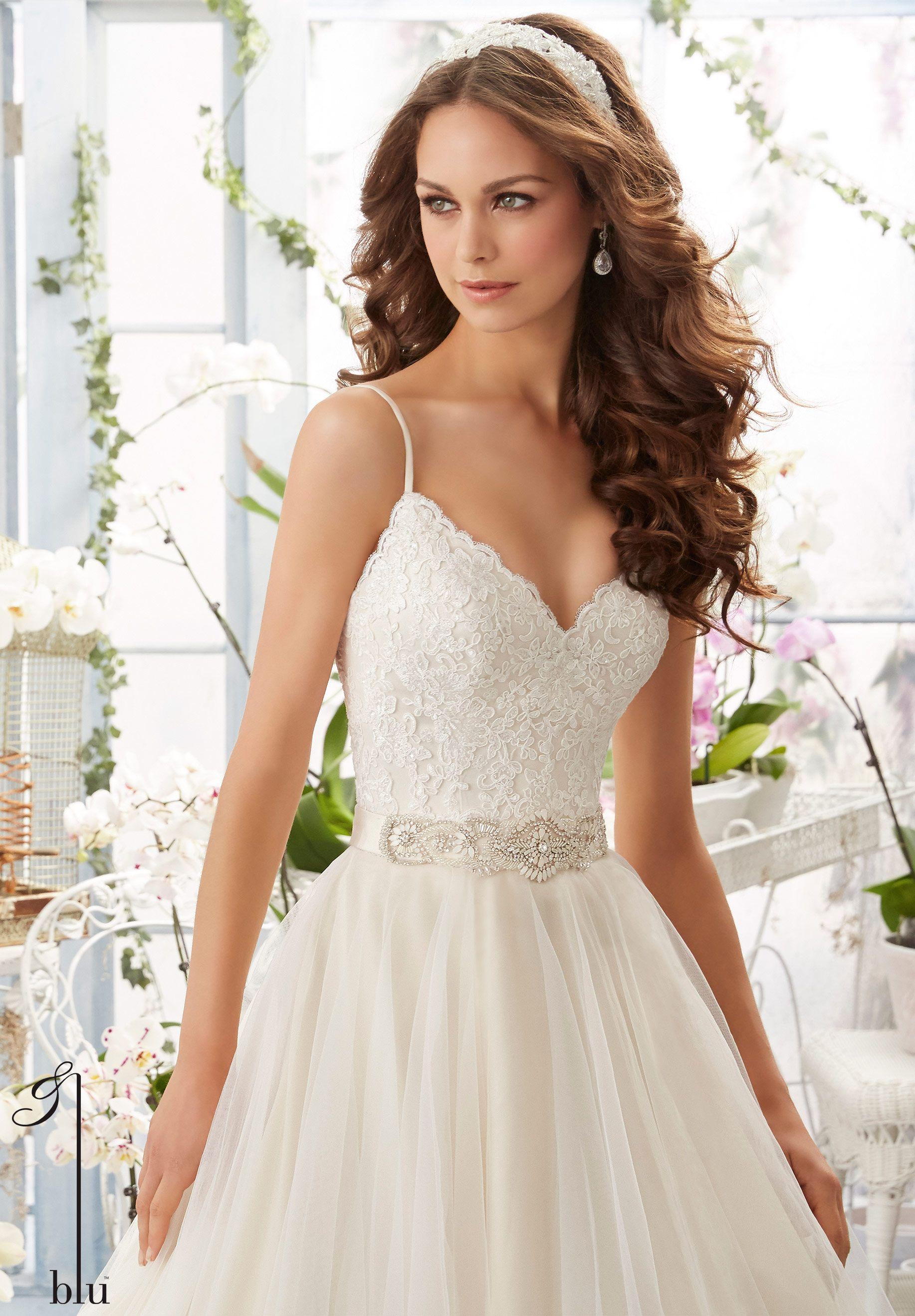Wedding Gown 5416 Alencon Lace Bodice With Satin Shoulder Straps