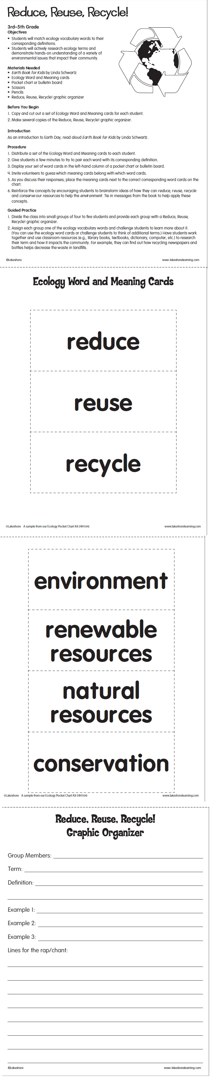 Reduce Reuse Recycle From Lakeshore Learning Kids Research