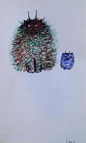 """FINI Léonor (1908-1996) """"Diables de chats"""" Dessin aux crayons de"""
