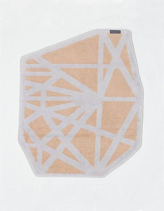 Diamond Bath Mat - Peach/Light Grey