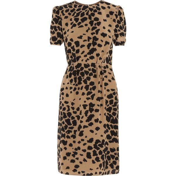 84f0910647da7 Burberry London Animal-print silk dress (925 CAD) ❤ liked on Polyvore