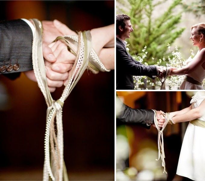 Bride And Groom Having Their Hands Tied As Part Of A Handfasting Ceremony Wedding Rituals
