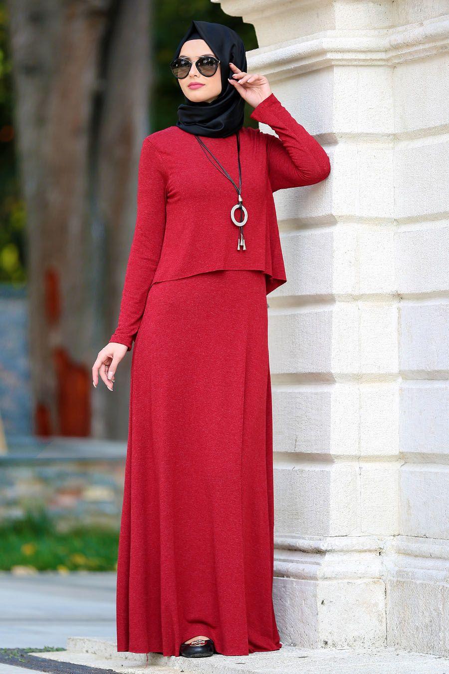 Neva Style Cepli Kirmizi Tesettur Elbise 31050k Tesetturisland Com Elbiseler Elbise Moda Stilleri
