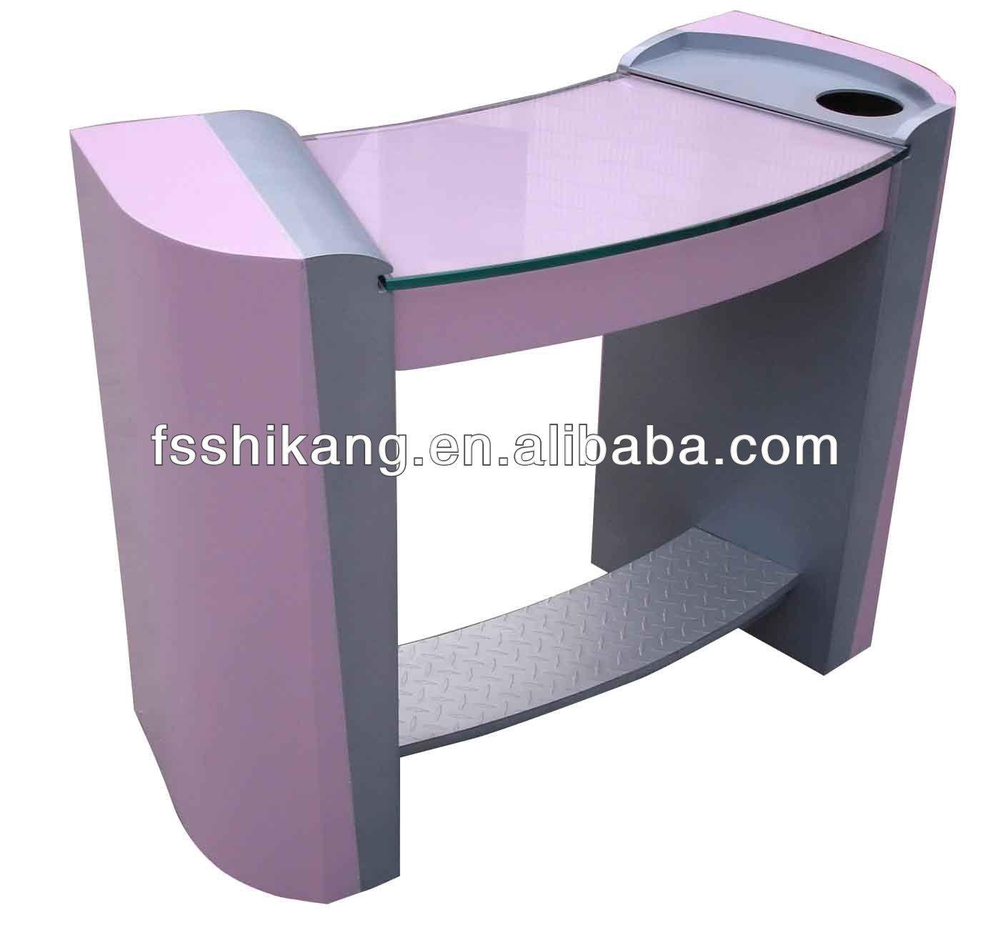 Popular Pink Glass Manicure Table Nail Salon Furniture