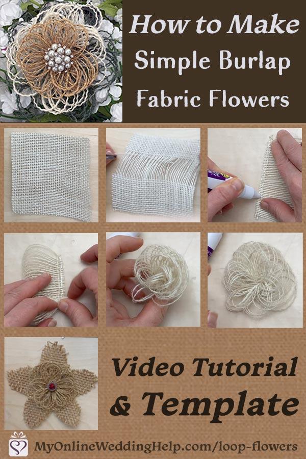 Einfache DIY Loopy Sackleinen Stoffblumen