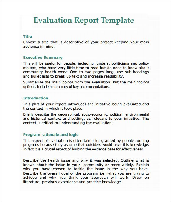 Evaluation Summary Report Template 4 Templates Example Templates Example Report Writing Template Report Template Writing Templates