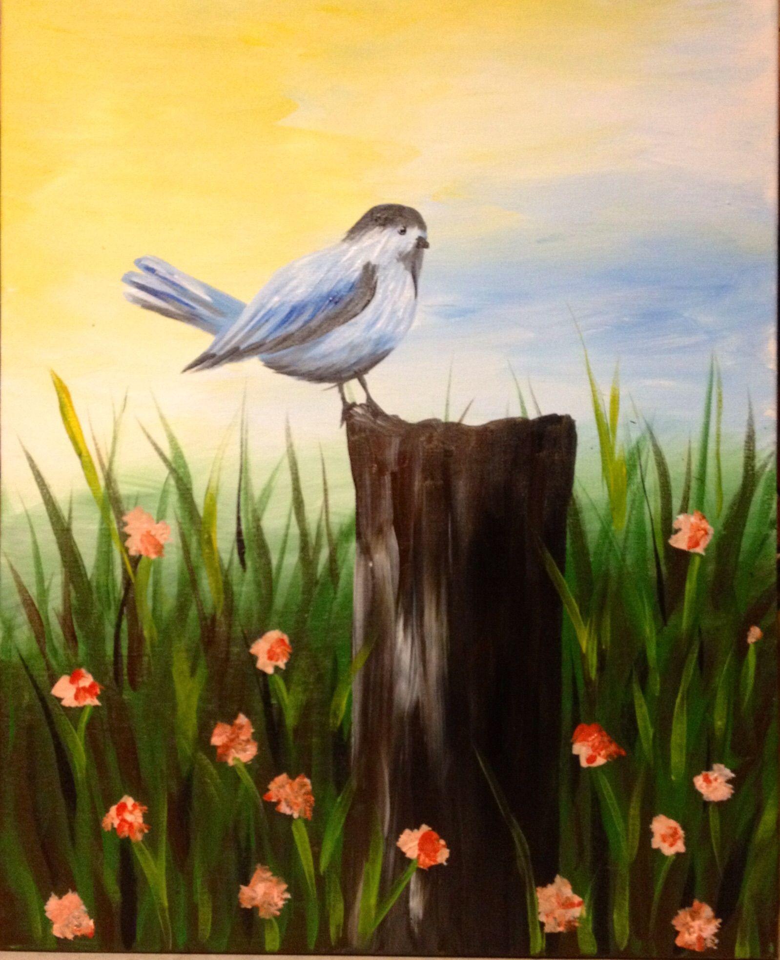 Little Bird Singing On A Stump In Flower Field Cute Beginner Canvas Painting