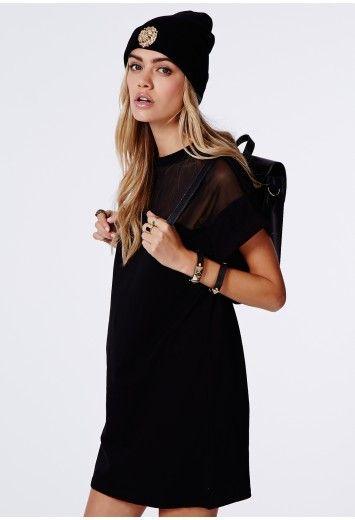 813e6e64f5d Oversized Mesh Panel Shift Dress In Black