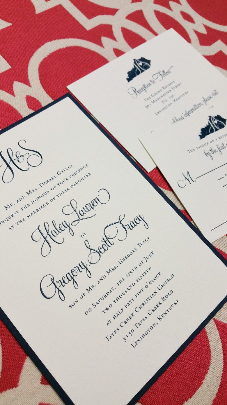 Modern Calligraphy Monogram Invitations With Navy Ink And State