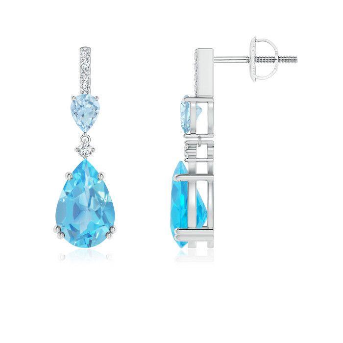 Angara Pear Blue Sapphire and Aquamarine Drop Earrings tC4eDc