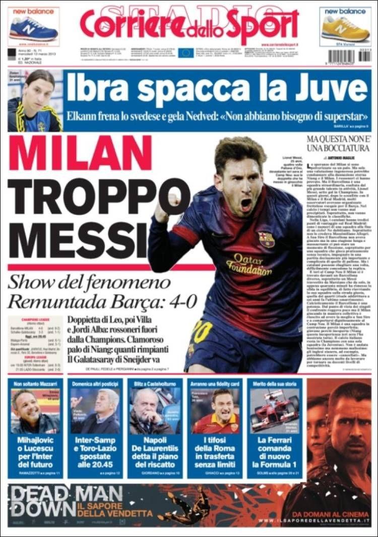 Portada de Corriere dello Sport (Italia) Newspaper