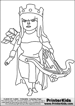 Clash Of Clans Archer Queen Coloring Page Clash Of Clans