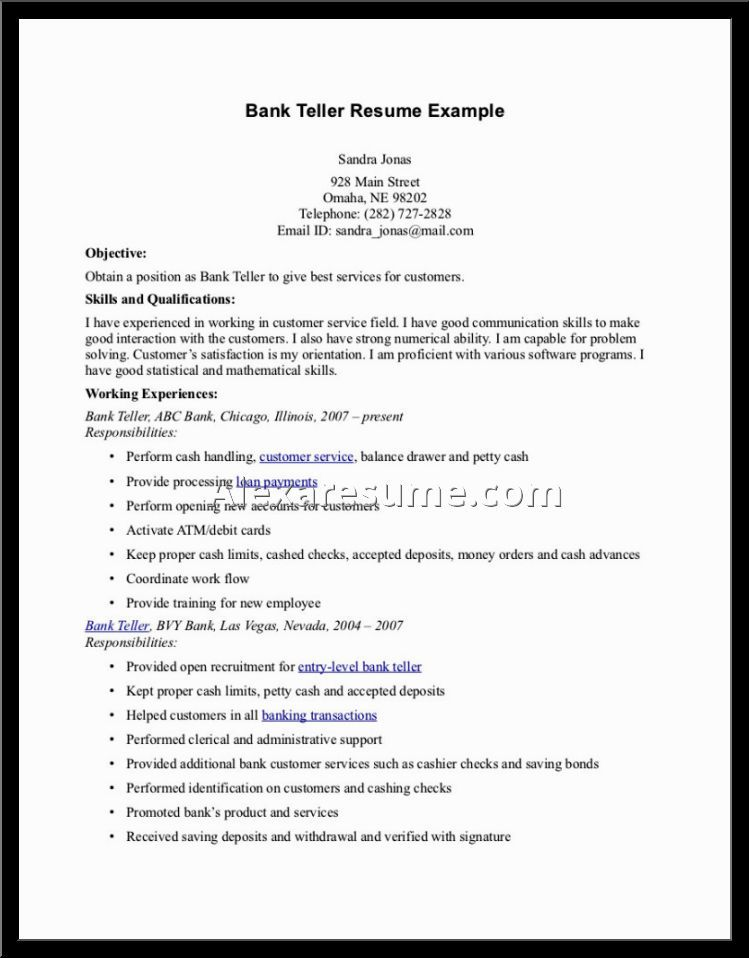 resume examples for bank teller alexa cover letter customer - resume example for bank teller