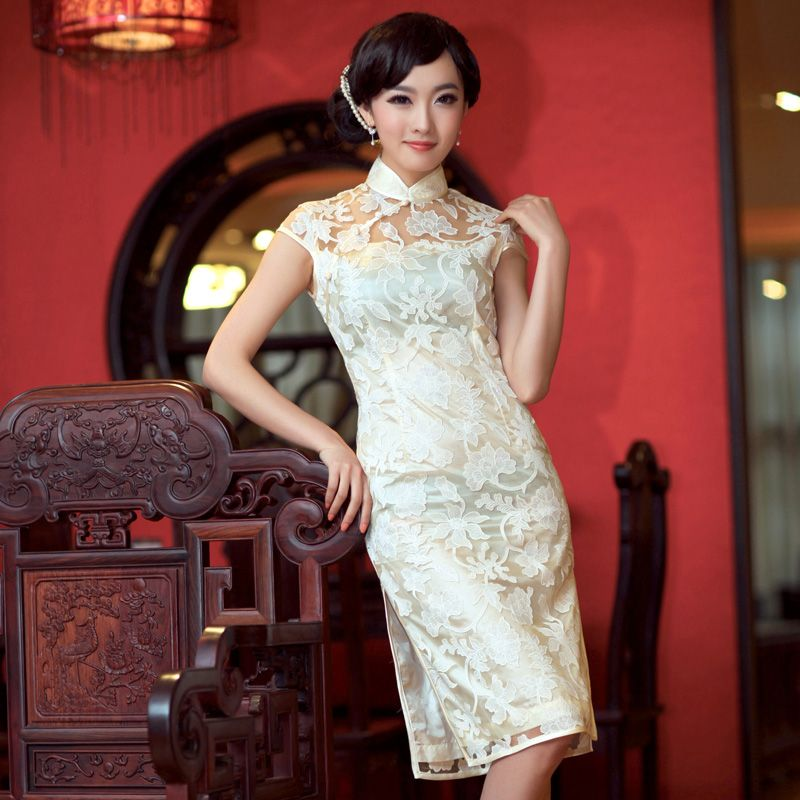 Elegant Knee Length White Lace Cheongsam Dress