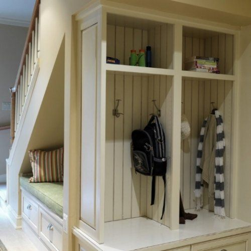 Hall Storage Unit With Seat Unusual Treatment For An Under Stairs E