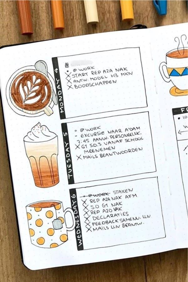 25+ Coffee Themed Bullet Journal Spreads For 2020 - Crazy Laura