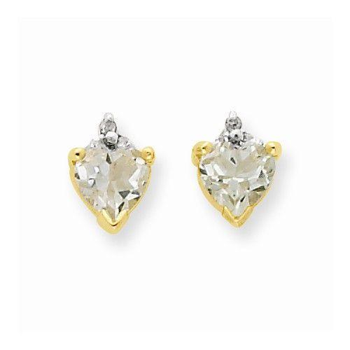 14k Yellow Gold Green Amethyst Diamond Earrings