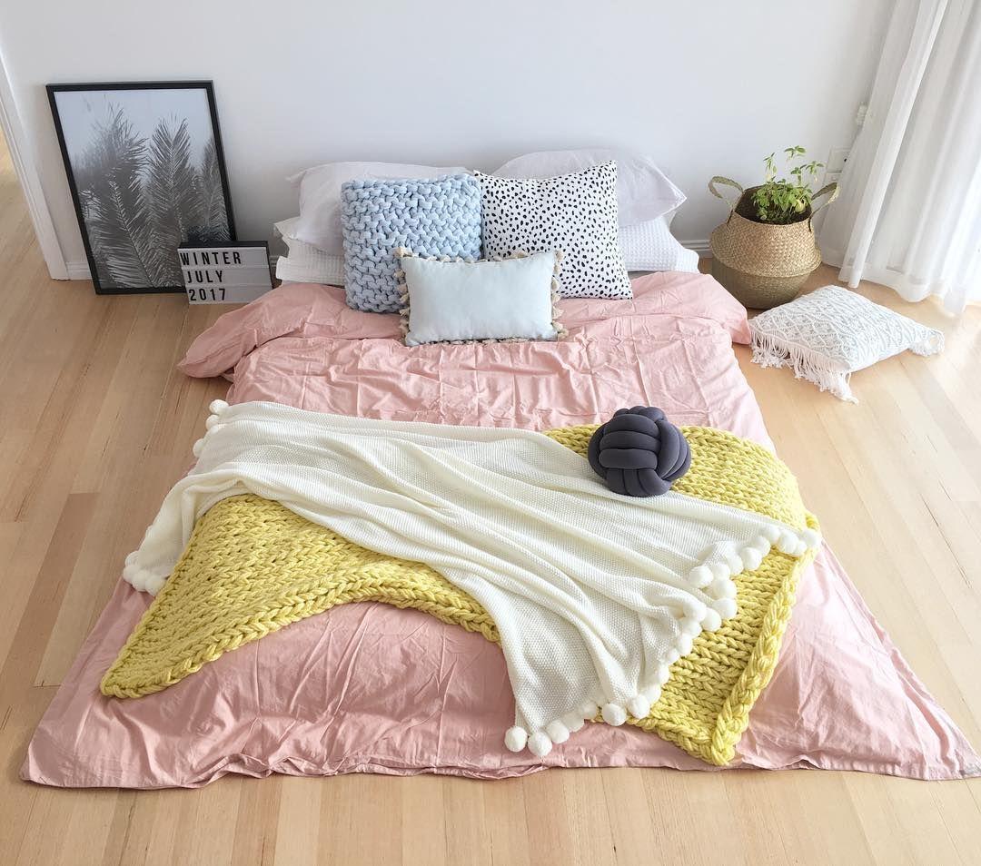 Stylingbytiffany on instagram colour u texture bedroom knot cushion