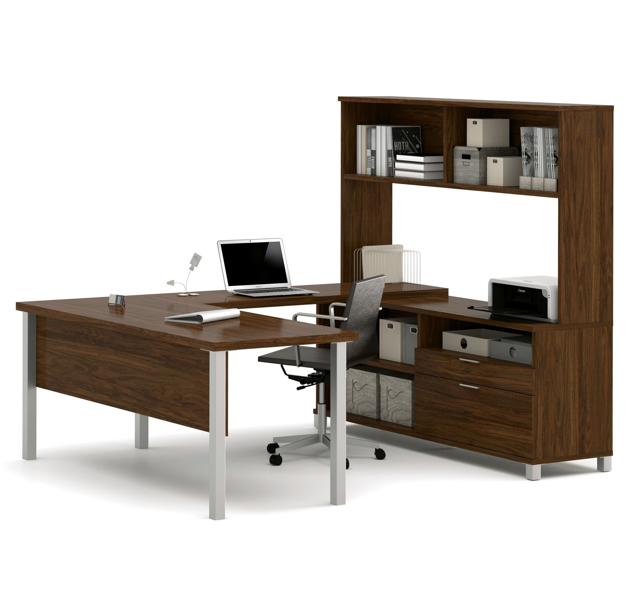 Premium Modern U Shaped Desk With Hutch In Oak Barrel Home