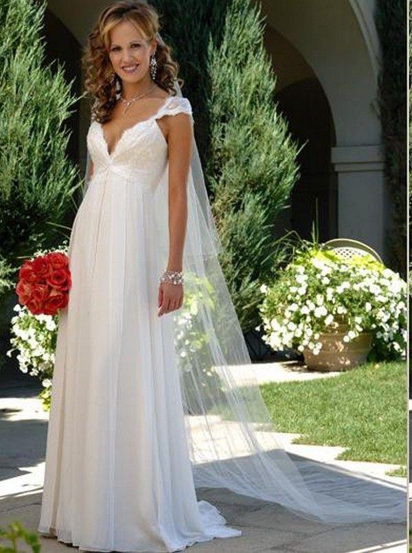 UK Empire Waist Wedding Dress without the weird cape veil thing on ...