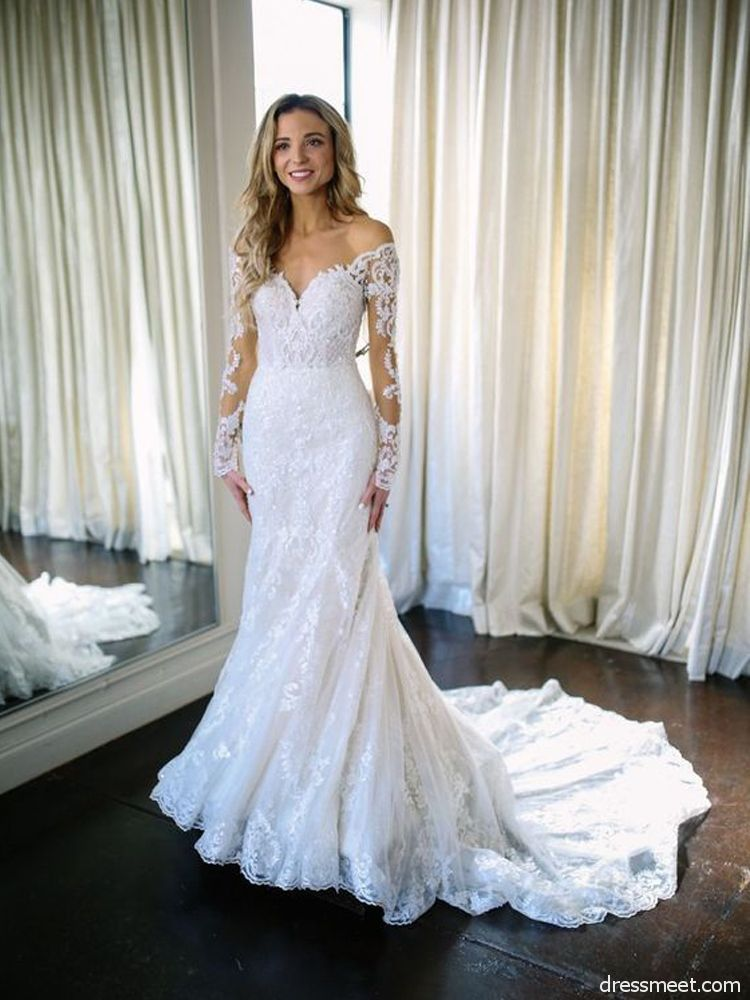 Mermaid Sweetheart Long Sleeve Lace White Wedding Dresses With Court Train Wd0725001 Wedding Dresses Wedding Dresses Mermaid Sweetheart Wedding Dresses Lace