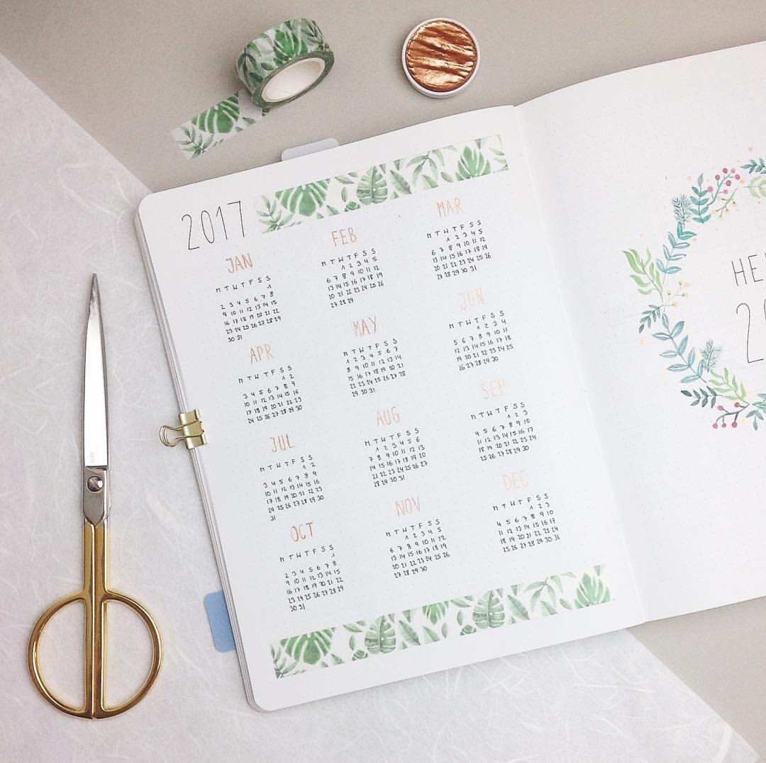 Journal Calender | floral washi tape